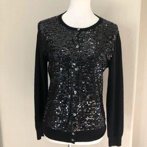 Neiman Marcus sequin  cashmere black cardigan